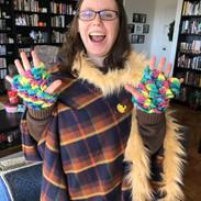 Dragon scale fingerless gloves