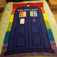 Rainbow Tardis Blanket