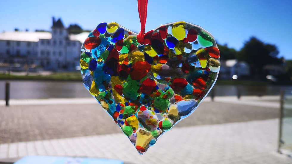 Crushed rainbow glass heart