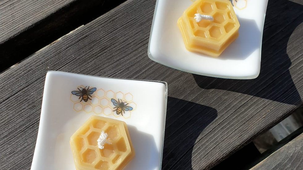 White dish with bee decal and Cornish beeswax tealight candle gift boxed
