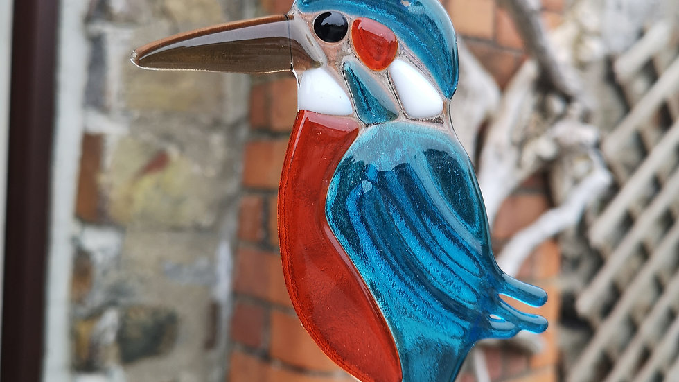 Hanging fused glass kingfisher