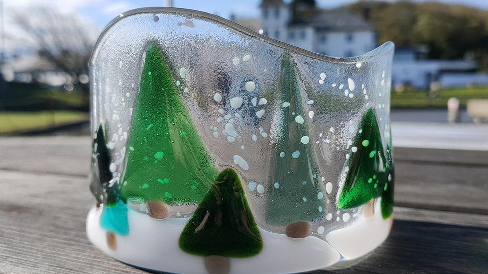 Snowy tree scene, candle ornament
