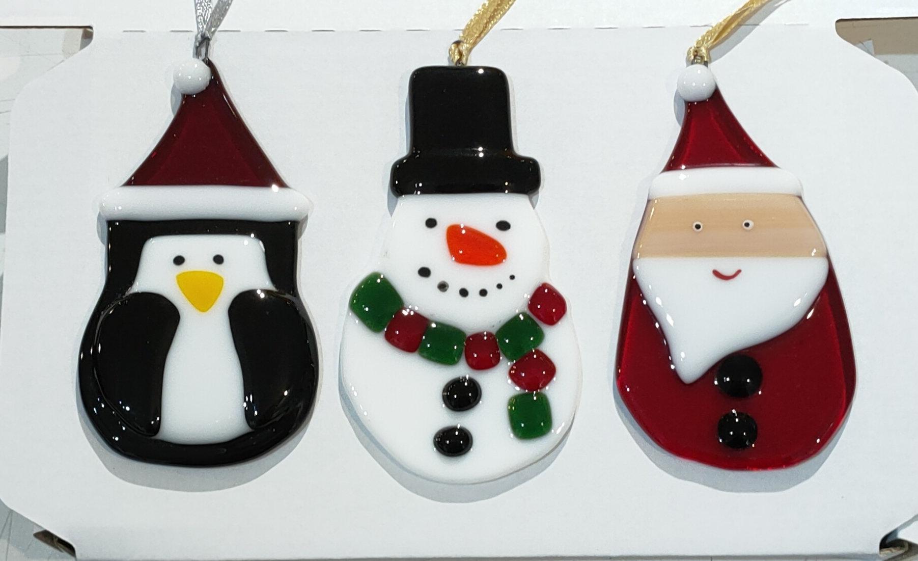 Set Of 3 Fun Christmas Tree Decorations Santa Penguin And Snowman Beau Nidol