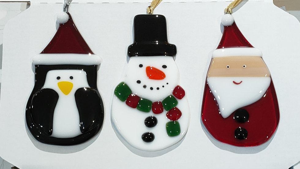 Set of 3 fun Christmas tree decorations Santa, penguin and snowman