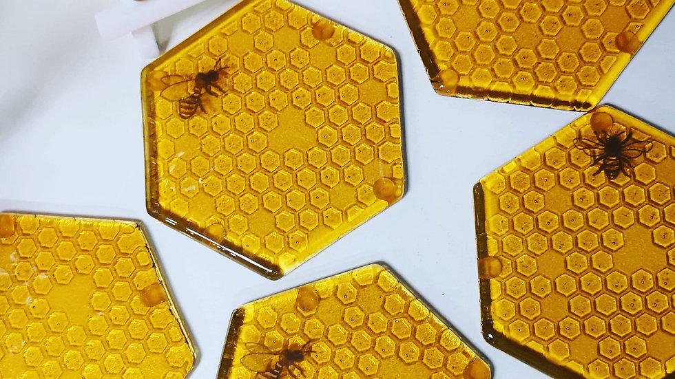 Bee honeycombe coaster single
