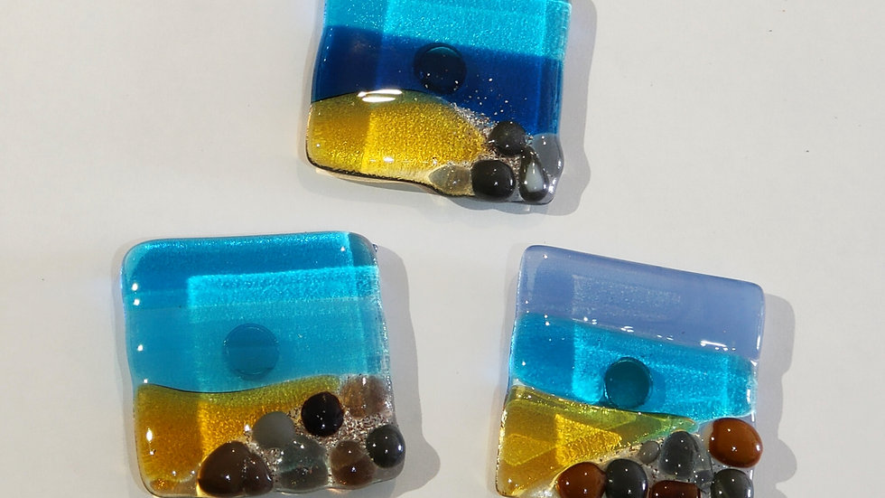 Fused glass beach magnet with Cornish sand