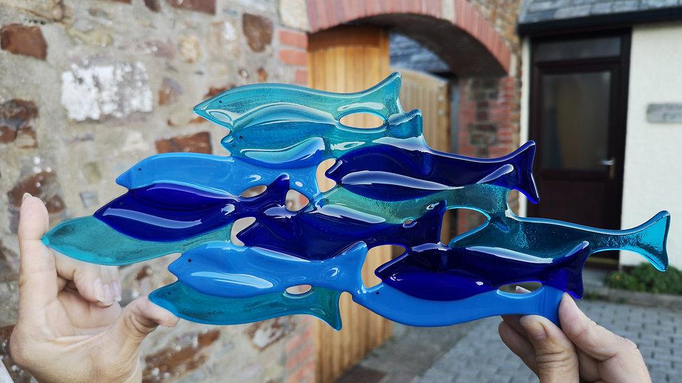 Fused glass blue fish shoal
