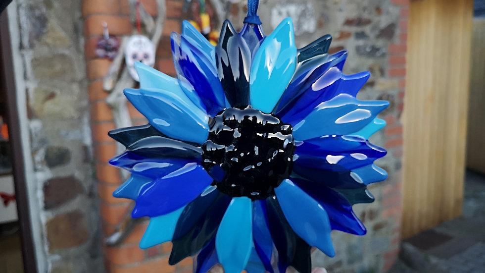 Fused glass blue flower - sun catcher