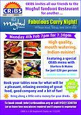 Moghul curry night Feb 2018 flyer