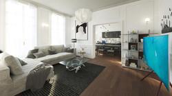 Paris flat - living room 03