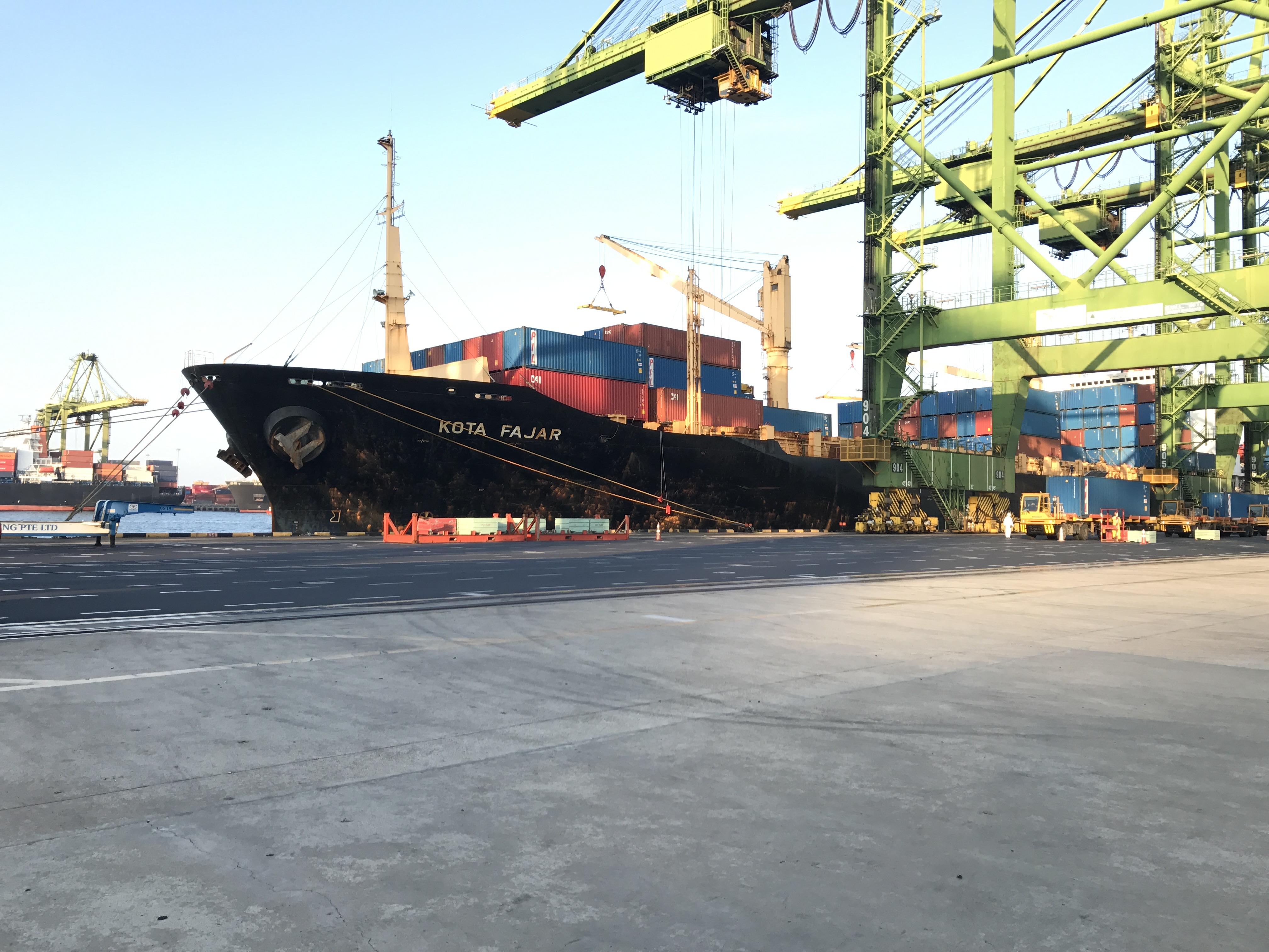 """MV """"Kota Fajar"""" at berth (Port of Singapore)"""