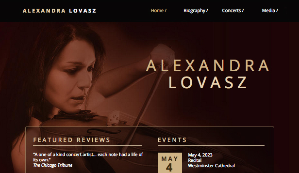 Solo Artist website templates – Classical Music