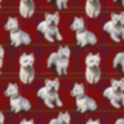 West Highland Terrier fabric design, wha