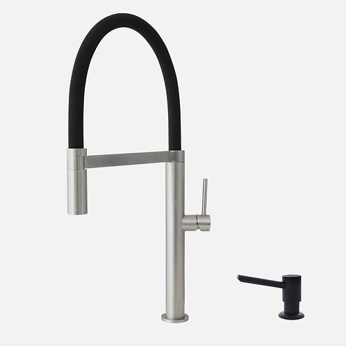 STYLISH Pull Out Kitchen Faucet + Soap Dispenser - Stainless Steel/Matte Black
