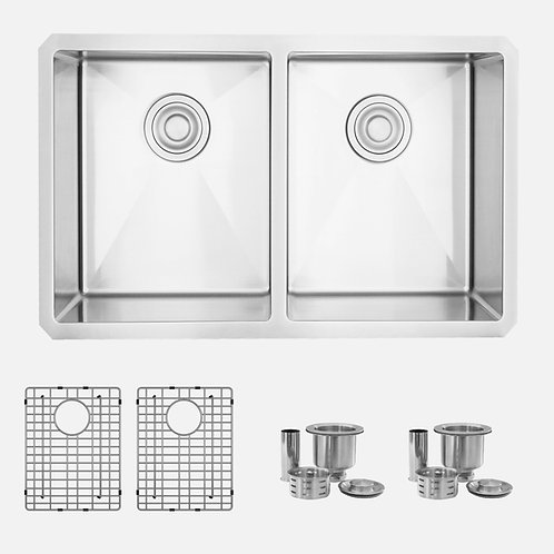STYLISH 28'' TOPAZ S-300XG Double Bowl Kitchen Sink