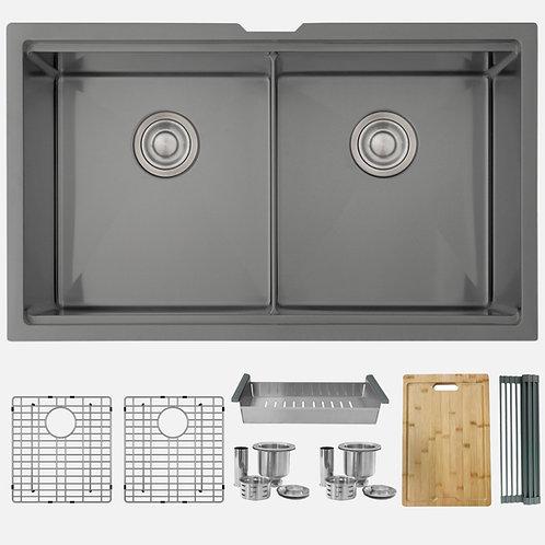 STYLISH 32'' VERSA32 S-601WN Graphite Black Workstation Double Bowl Kitchen Sink