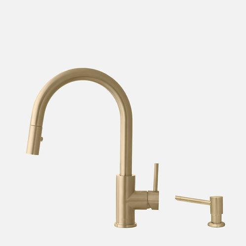STYLISH Pull Down Kitchen Faucet + Soap Dispenser - Gold Finish