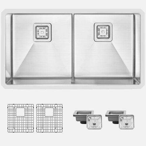 STYLISH 33'' SPAZIO S-501XG Double Bowl Kitchen Sink