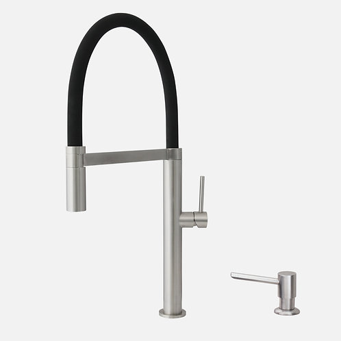 STYLISH Pull Out Kitchen Faucet + Soap Dispenser - Stainless Steel Finish