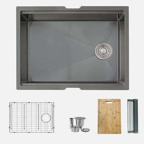 STYLISH 25'' VERSA25 S-612WN Graphite Black Workstation Single Bowl Kitchen Sink