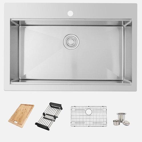"AZUNI 31"" NOIRT C430L Workstation Single Bowl Kitchen Sink"
