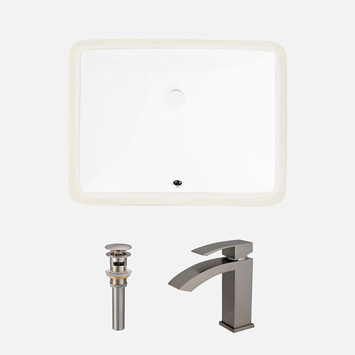 STYLISH Undermount Porcelain Sink + Single Handle Bathroom Faucet + Pop-up Drain
