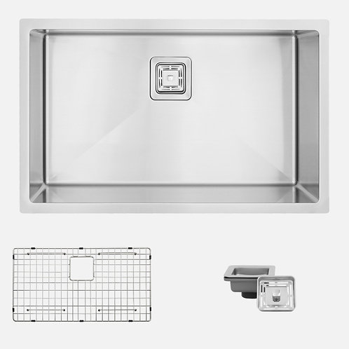 "AZUNI 30"" METZ C130 Square Strainer Single Bowl Kitchen Sink"