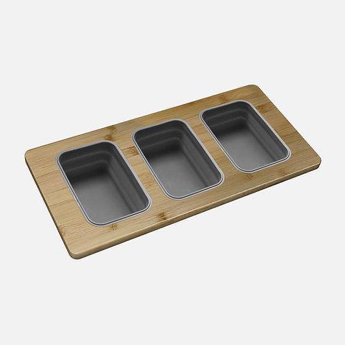 WORKSTATION SERVING BOARD WITH 3 CONTAINERS A-908