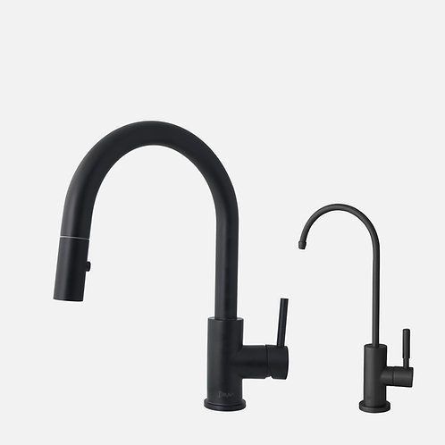 STYLISH Pull Dow Kitchen Faucet + Water Tap - Matte Black Finish