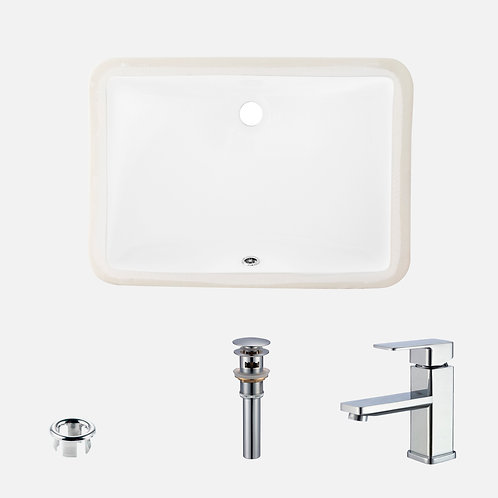 STYLISH Undermount Porcelain Sink + Single Handle Bathroom Faucet + Pop-Up Drain