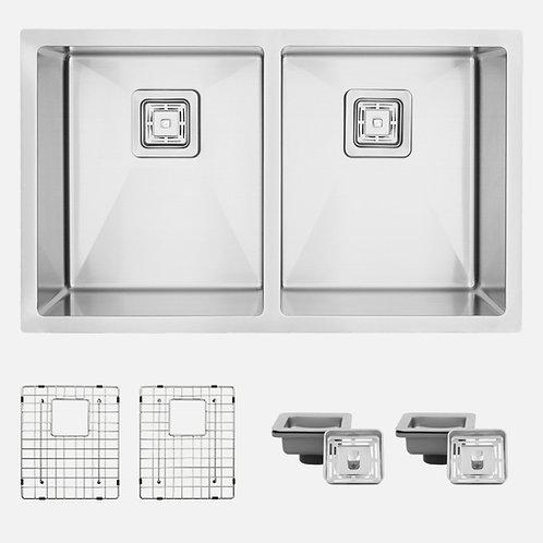 "AZUNI 32"" TULLE C232 Square Strainer Double Bowl Kitchen Sink"