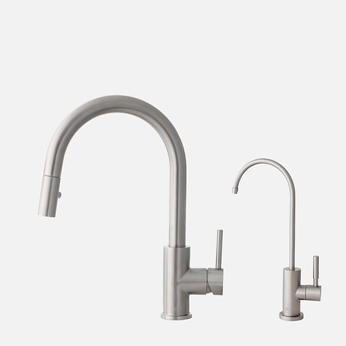STYLISH Pull Dow Kitchen Faucet + Water Tap - Stainless Steel Finish