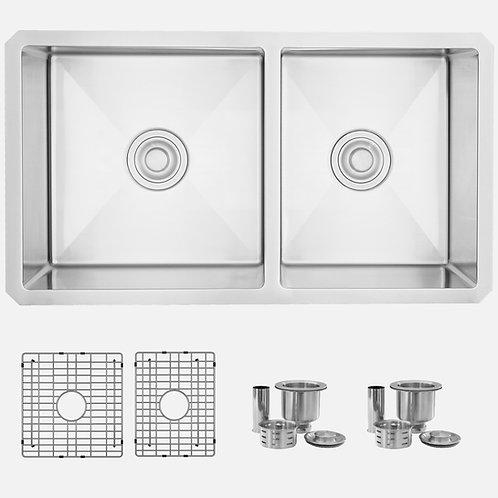 STYLISH 33'' BERYL S-322XG Reversible Double Bowl Kitchen Sink