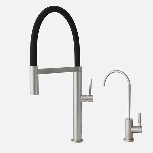 STYLISH Pull Out Kitchen Faucet + Water Tap - Stainless Steel F