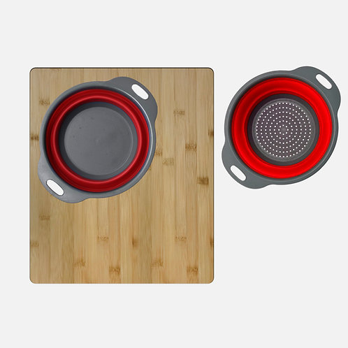 OVER THE SINK LARGE CUTTING BOARD WITH COLANDER SETA-907