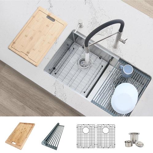 AZUNI 28'' LILLE C228L Workstation  Double Bowl Kitchen Sink