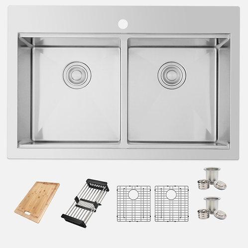 "AZUNI 31"" ARIES C432L Workstation Double Bowl Kitchen Sink"