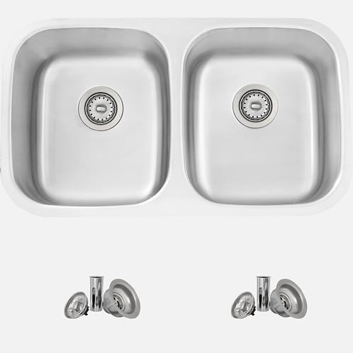 STYLISH 32'' JASPEL S-200T Double Bowl Kitchen Sink