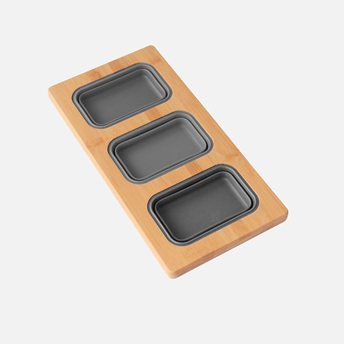 """AZUNI 17"""" Workstation Sink Bamboo Serving Board Set with 3 Containers A908"""
