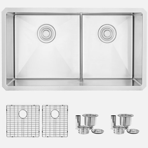 STYLISH 32'' ROOMY S-325XG LOW DIVIDER Double Bowl Kitchen Sink