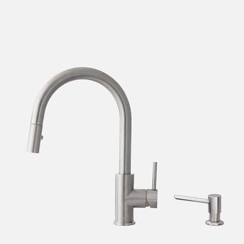 STYLISH Pull Down Kitchen Faucet + Soap Dispenser - Stainless Steel Finish