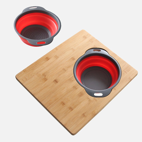 """AZUNI 16"""" BAMBOO CUTTING  BOARD WITH COLANDER AND BOWL SET A907"""