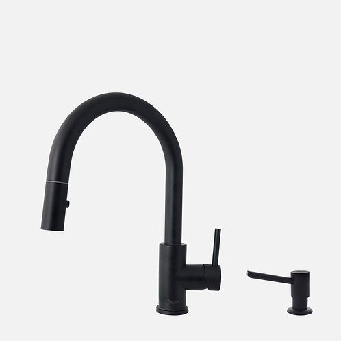 STYLISH Pull Down Kitchen Faucet + Soap Dispenser - Matte Black Finish