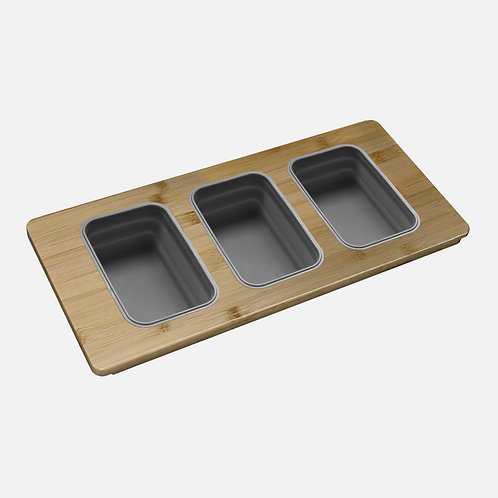 STYLISH OVER THE SINK SERVING BOARD WITH 3 CONTAINERS A-910
