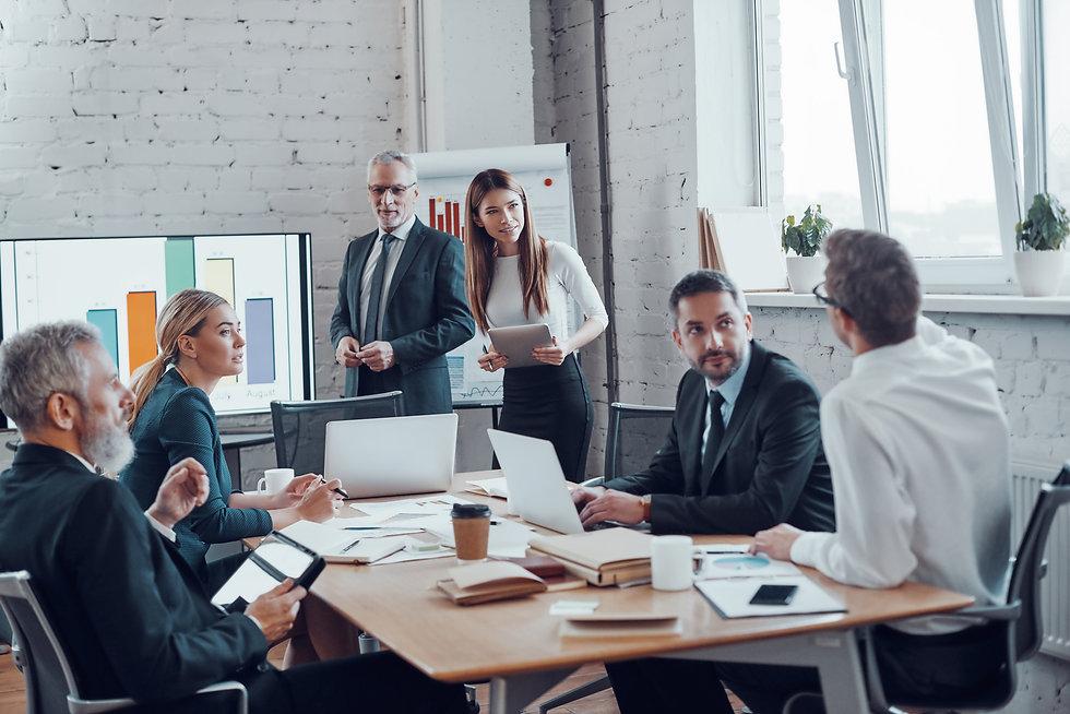 Successful business professionals presen
