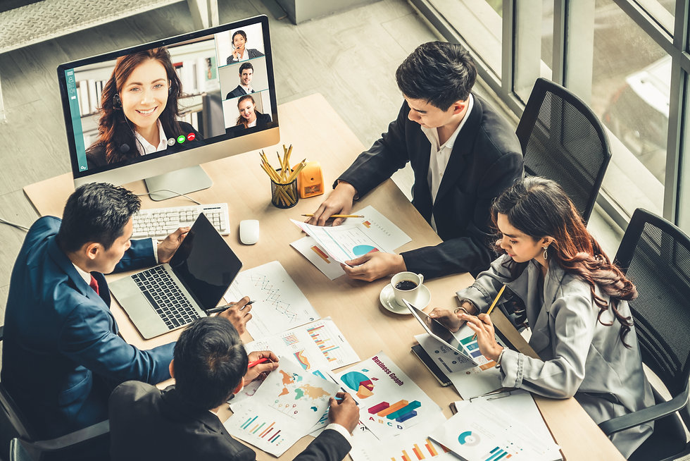 Video call group business people meeting