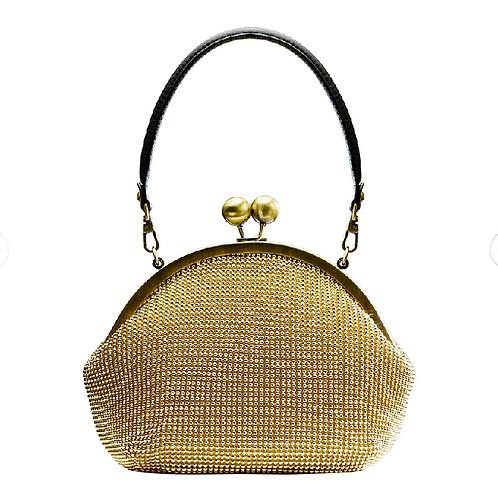 Moonstone Round Frame Bag - Gold Metal Mesh with Inner Art