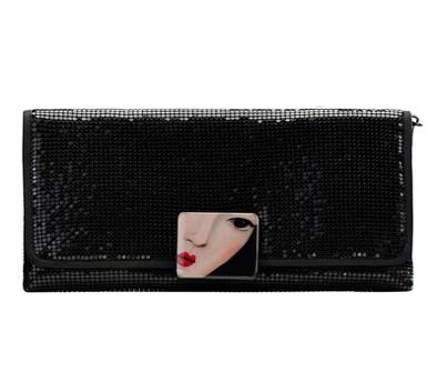 MISS SHANGHAI Black Pearl mental mesh clutch