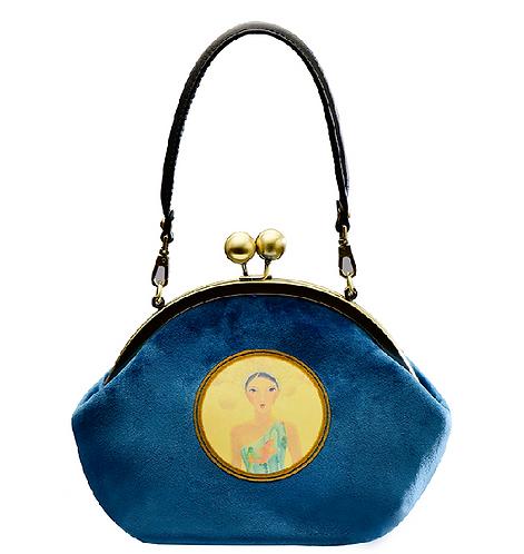 MOONSTONE Round Frame Bag - Blue Italian Velvet