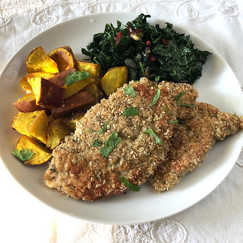 Herb Crusted Chicken, Sweet Potato & Kale Salad